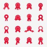 Icônes rouges de rosette Symboles de qualité, garantie, rewads Vecteur Illustration de Vecteur