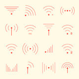 Icônes rouges minces de wifi sur le fond jaune illustration libre de droits