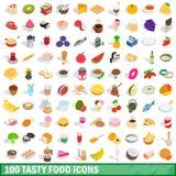 100 icônes savoureuses de nourriture ont placé, le style 3d isométrique Photographie stock libre de droits