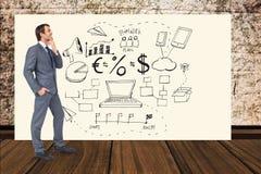 Icônes se tenantes prêt professionnelles d'affaires sur le panneau d'affichage Photographie stock