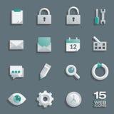Icônes semi plates de Web réglées illustration stock