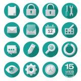 Icônes semi plates de Web réglées en cercles illustration de vecteur