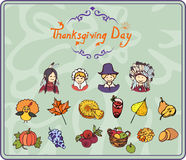 Icônes simples de couleur de thanksgiving Photo libre de droits