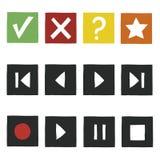 Icônes simples de jeu d'aspiration de main réglées Images stock