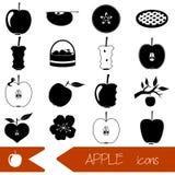 Icônes simples de noir de thème d'Apple réglées Photos stock