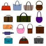 Icônes simples de sac, de bourse, de sac à main et de valise réglées Photo stock