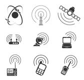 Icônes simples de vecteur de signal radio Photographie stock