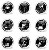 Icônes simples de vecteur de signal radio Image libre de droits