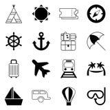 Icônes simples de voyage réglées, éléments de conception Photos stock
