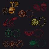 Icônes simples eps10 de fruits et d'ensemble de demi fruits Photographie stock