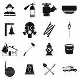 Icônes simples noires de sapeur-pompier réglées illustration libre de droits