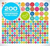 200 icônes simples universelles Photos libres de droits