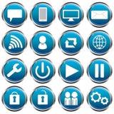Icônes sociales bleues photographie stock libre de droits
