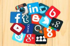 Icônes sociales célèbres de media Photos stock