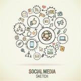 Icônes sociales de croquis d'aspiration de main de media Image libre de droits
