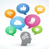 Icônes sociales de media illustration libre de droits
