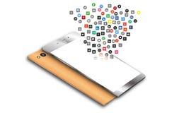 Icônes sociales de media au téléphone portable d'Android Image libre de droits