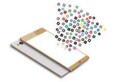 Icônes sociales de media au téléphone portable d'Android Photos stock