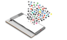 Icônes sociales de media au téléphone portable d'Android Images stock