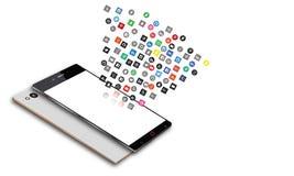Icônes sociales de media au téléphone portable d'Android Photo stock