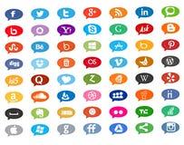 Icônes sociales de media dans la bulle de causerie Photo libre de droits