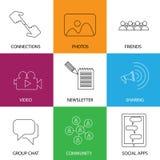 Icônes sociales de media des amis, de la communauté, des vidéos et des photos - concentrés Photos stock