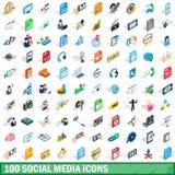 100 icônes sociales de media ont placé, le style 3d isométrique Photographie stock libre de droits