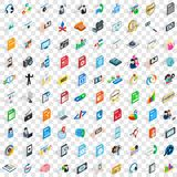100 icônes sociales de media ont placé, le style 3d isométrique Photo stock