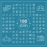100 icônes sociales de media réglées Photo libre de droits