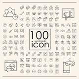 100 icônes sociales de media réglées Images libres de droits