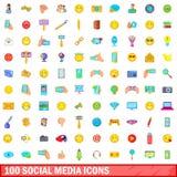 100 icônes sociales de media réglées, style de bande dessinée Photos stock