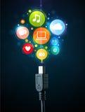 Icônes sociales de media sortant du câble électrique Photo libre de droits