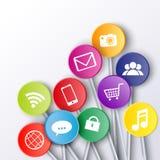 Icônes sociales de media sur des bâtons de lucette Photographie stock libre de droits