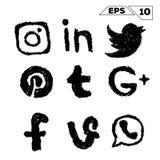 Icônes sociales de media tirées par la main illustration libre de droits