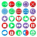 Icônes sociales de navigation de Web de réseau réglées Photo libre de droits