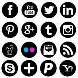 Icônes sociales de noir de réseau de media illustration de vecteur