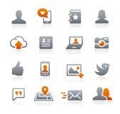 Icônes sociales de Web -- Série de graphite Photo stock