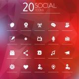 Icônes sociales sur le fond brouillé Photographie stock