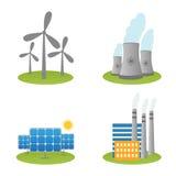 Icônes solaires, de moulins à vent et de centrales nucléaires illustration de vecteur