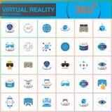 Icônes solides colorées de réalité virtuelle réglées Technologies d'innovation, verres de l'AR, affichage Tête-monté, dispositif  illustration stock