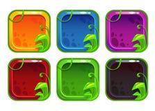 Icônes stylisées de la bande dessinée APP avec des éléments de nature Photos libres de droits