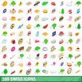 100 icônes suisses réglées, style 3d isométrique illustration de vecteur
