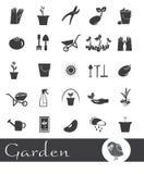 Icônes sur un jardin de thème Photo libre de droits