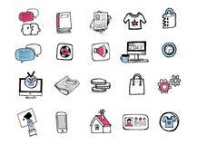 Icônes tirées par la main 001 Photos stock