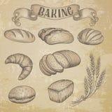 Icônes tirées par la main de boulangerie réglées Photo stock