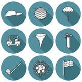 Icônes tirées par la main de golf images stock
