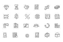 Icônes tirées par la main 7 de griffonnage de finances Images stock
