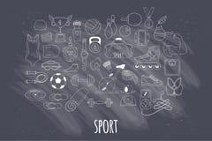 Icônes tirées par la main de griffonnage de forme physique et de sport de vecteur réglées Image stock