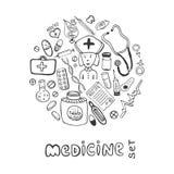Icônes tirées par la main de griffonnage de médecine réglées Soins de santé de croquis et médical Photographie stock