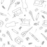 Icônes tirées par la main de griffonnage de modèle sans couture cousant l'ensemble Image stock